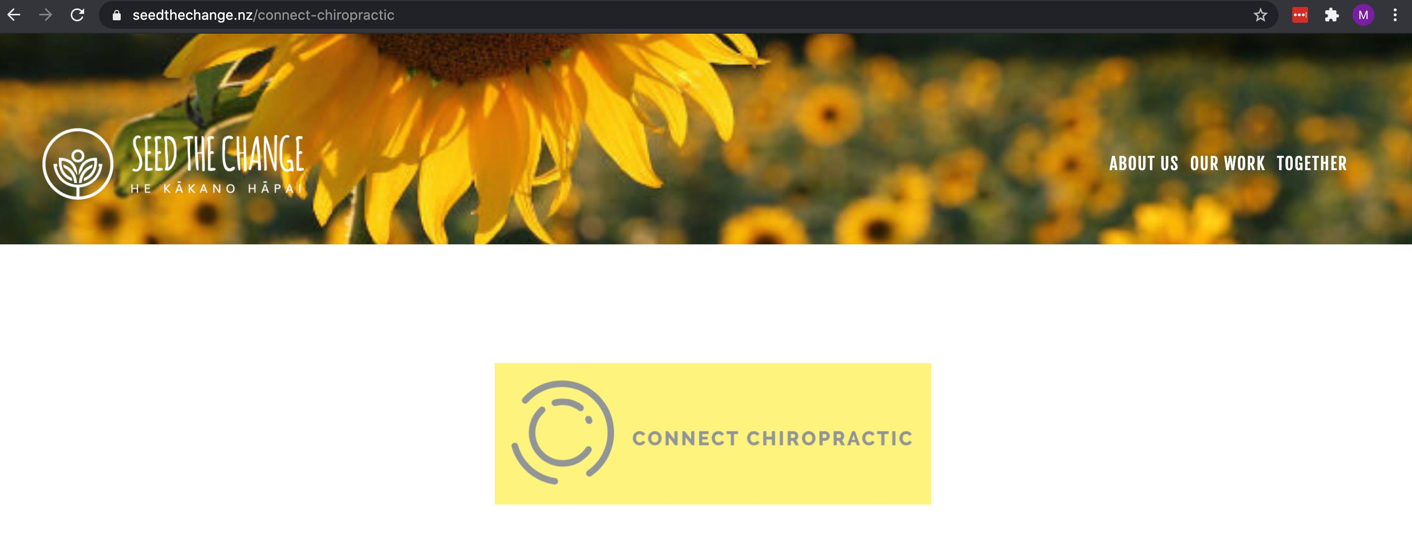 Christchurch Chiropractor relationship with Seed the Change